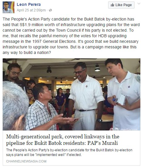 Commenting on Murali's $1.9 million carrot which he said Bukit Batok would get only if he is elected