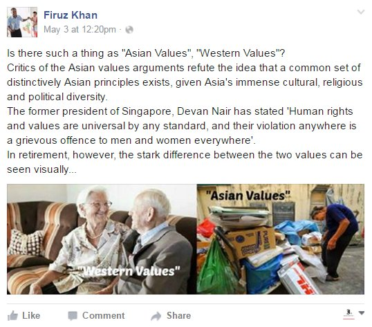 "Commenting on Speaker of Parliament Halimah Yacob's comment that Chee behaved in a manner not in keeping with our Asian values when he ""he shouted at Mr Goh Chok Tong"""