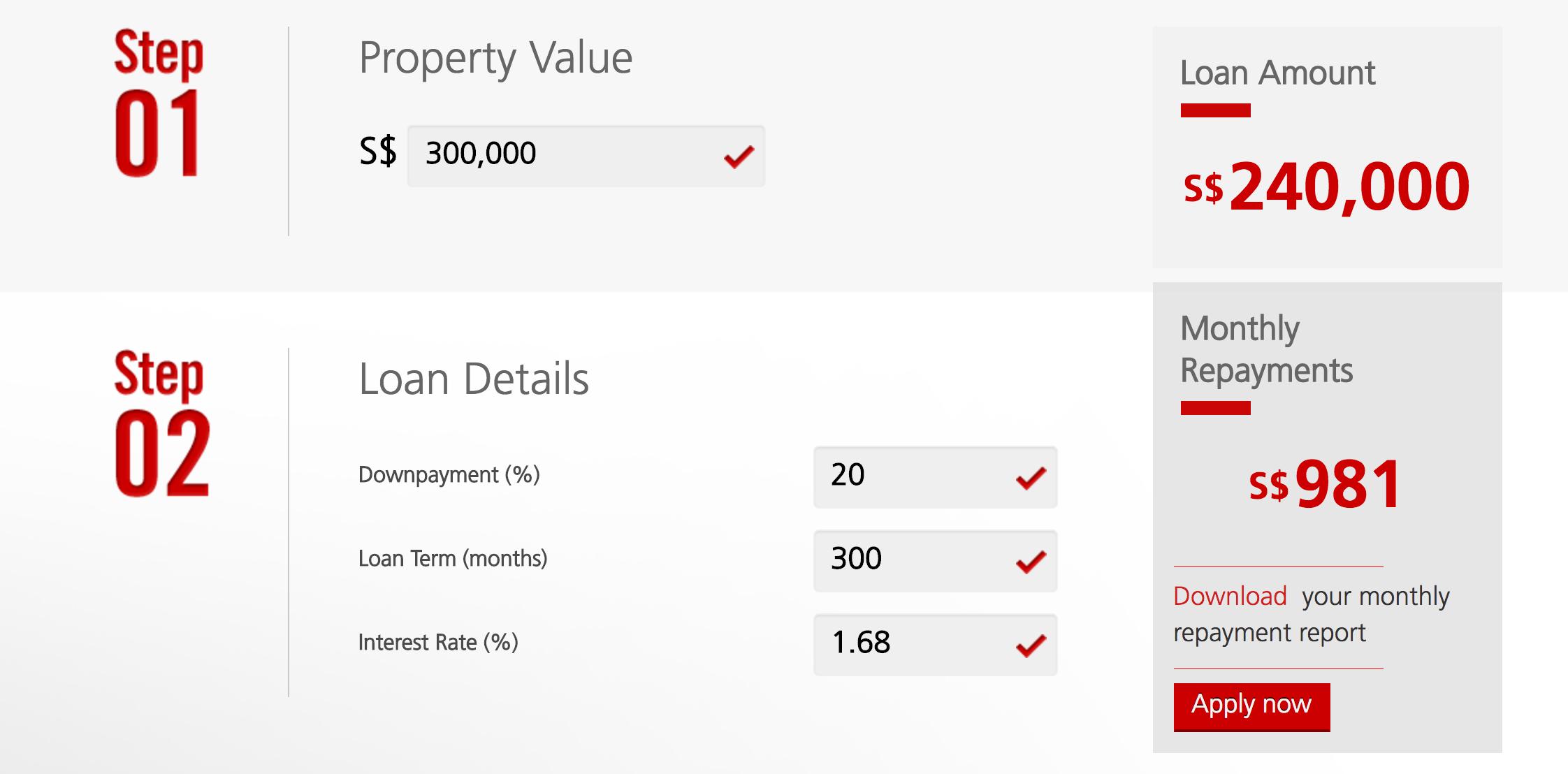 DBS Home Loan Repayment Calculator