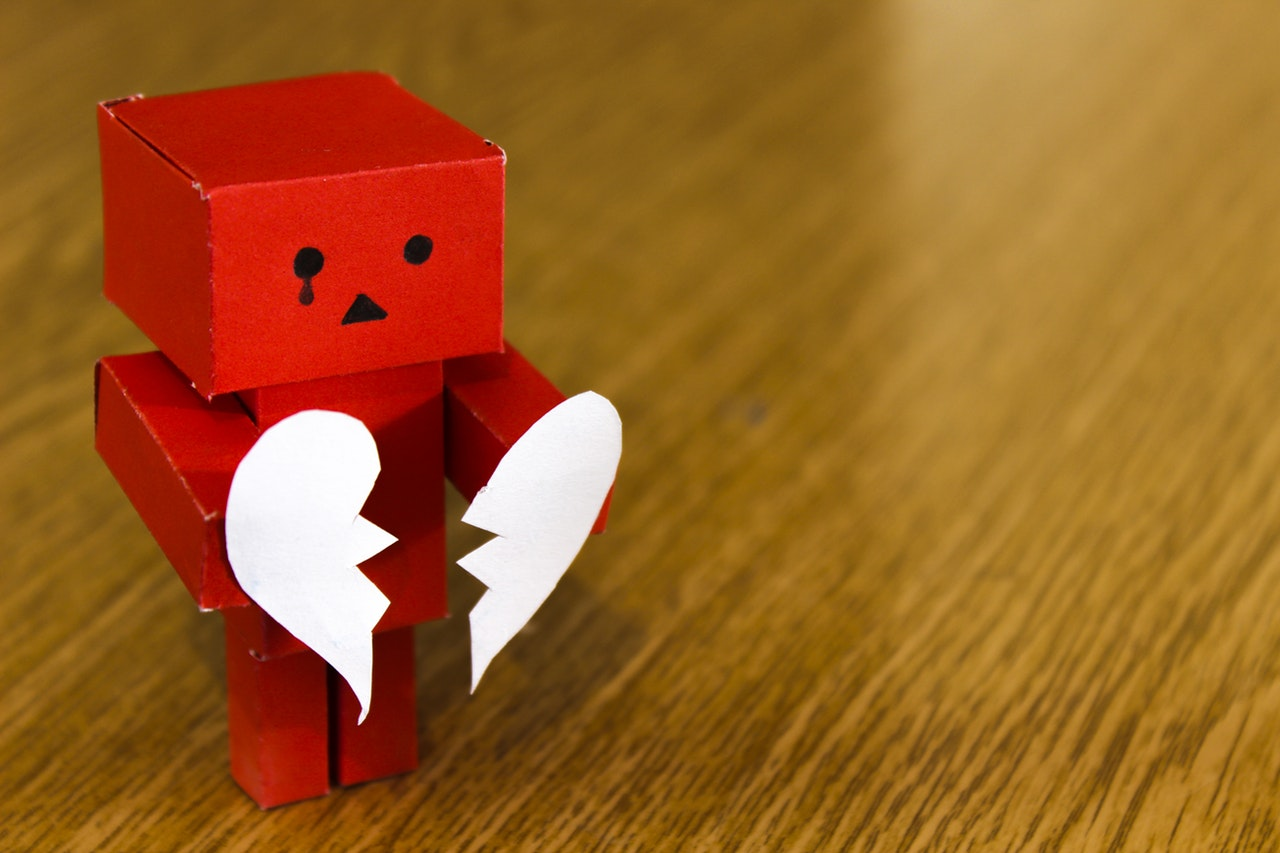 Image indicating heartbreak or break-up of a relationship