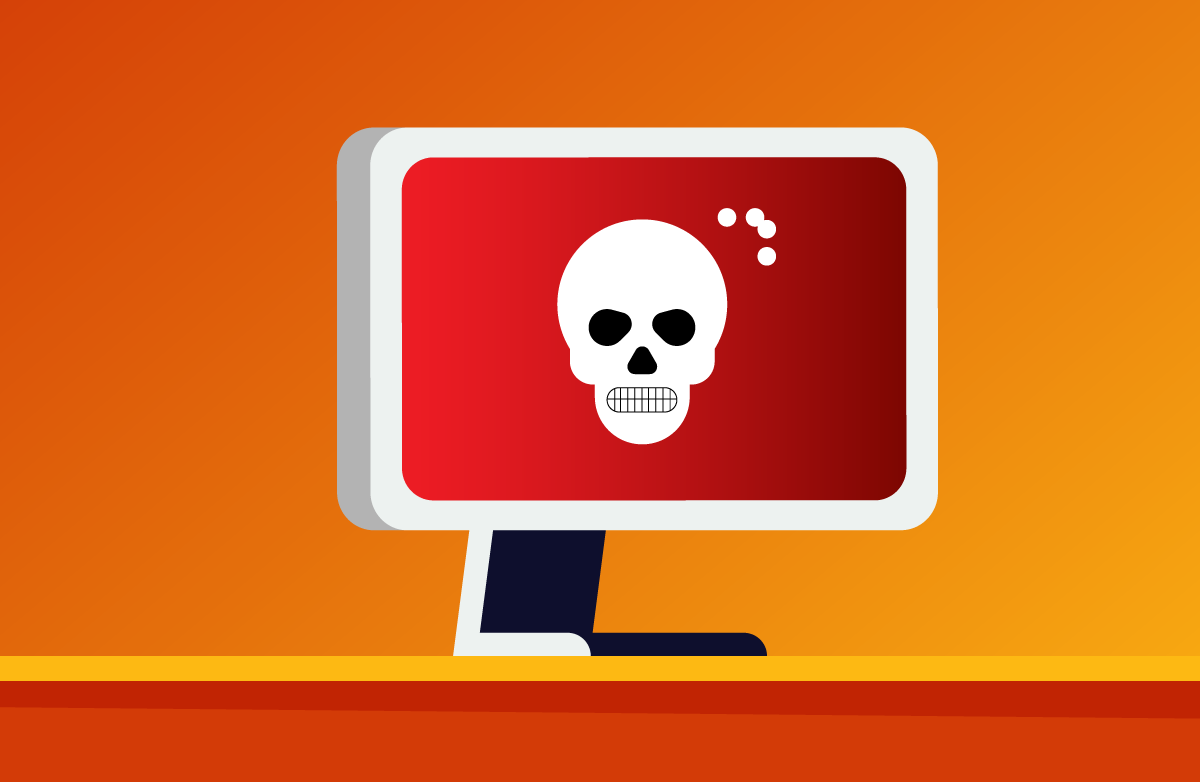 Image of a danger sign on computer screen