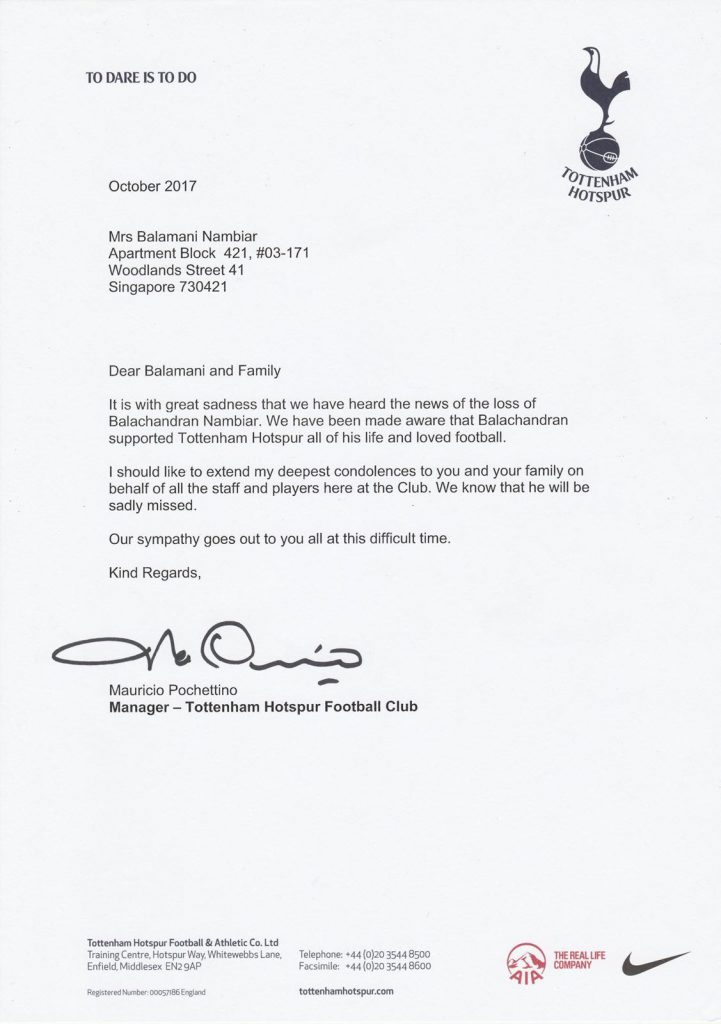 So Touching Singapore Fan Gets Condolence Letter From Tottenham