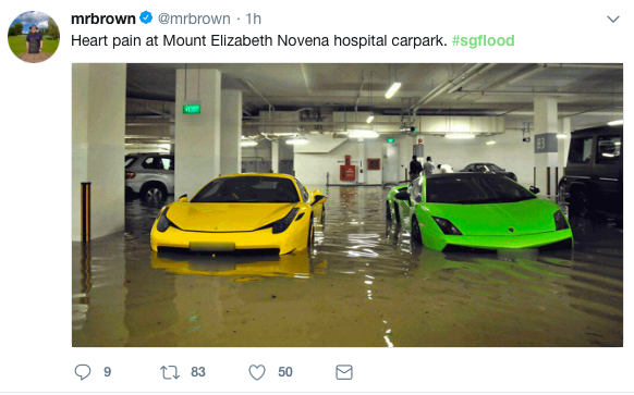 Heavy rain causes flash floods in parts of Singapore