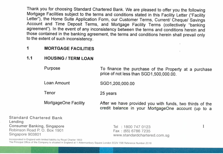How does Standard Chartered Home Loan letter of offer look like