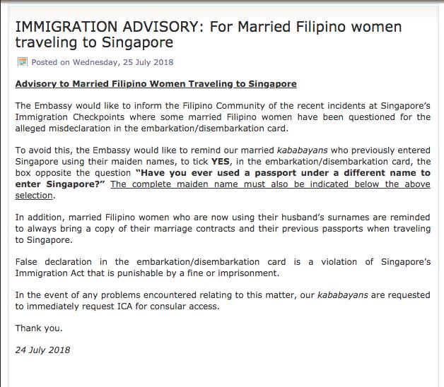 Philippine embassy to Filipinas: declare correct marital